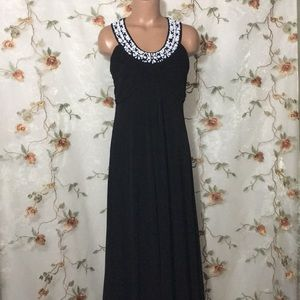 Soft Surroundings Black Maxi Beaded Neckline Dress